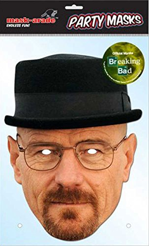 Breaking Bad Kind Kostüm (Breaking Bad - Heisenberg, Papp Maske, aus hochwertigem Glanzkarton mit Augenlöchern, Gummiband - Grösse ca. 30x21)
