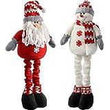 WeRChristmas allungabile free standing Babbo Natale e pupazzo di neve, 99cm–multicolore, set di 2, Tessuto, multicolour, large
