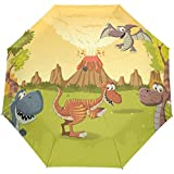 Niedliche Cartoon-Tierdinosaurier Auto Open Close Sun Regen Regenschirm