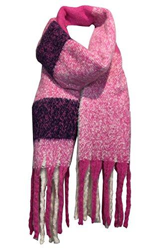 fashion&DU Karo Winterschal mit XXL Fransen Kuschel Schal Plaid kariert rosa schwarz blau #16 (Pink/Beige) (Pink Plaid)
