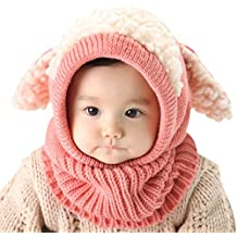 Invierno del bebé Niños Chicas Chicos Tejido Gorro Punto Caliente lana Cofia Capucha Bufanda Caps Sombreros