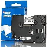 Eseller Direct Etikettenband-Ersatz für TZ131, kompatibel mit Brother P-Touch, 12 x 8 mm, Schwarz auf transparent, 1 Stück