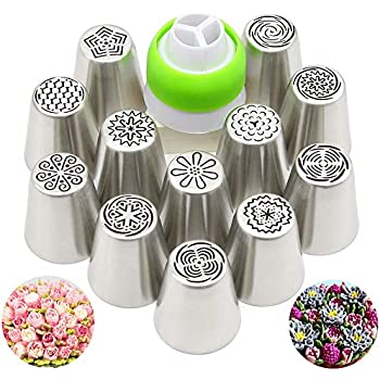22 Pcs Russian Piping Tips Set 1 Silicone Bag,1 Cleaning Brush and 10 Disposable Pastry Bags #1 DesignerBox 8 Pcs Stainless Steel Russian Piping Ball Tips Icing Nozzles Set with 2 Couplers
