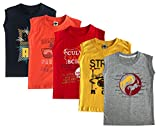 #7: ELK Little Master Kids Boy's Round Neck Printed Sleeveless 100% Cotton Tshirts Grey Navy Red Yellow Orange 5 Piece Combo