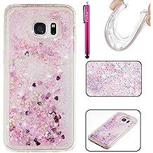 Coque Galaxy S7 edge, Glitter Liquide TPU Etui, Firefish Dynamique Liquide Forme de Cœur Sables Mouvants Transparente Case pour Samsung Galaxy S7 edge