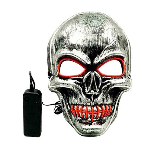 Maske Horrible Mund genäht Schädel EL Maskerade Tanzpartys LED Slipknot Maske Festival Dekoration ()