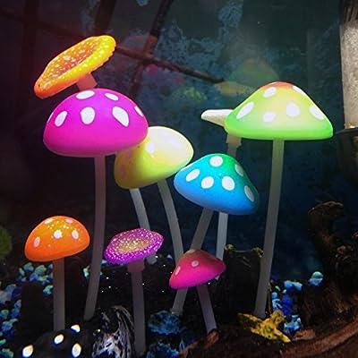 Uniclife Glowing Effect Artificial Mushroom Aquarium Plant Decor Ornament Decoration for Fish Tank Landscape by Uniclife