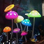 Uniclife Glowing Effect Artificial Mushroom Aquarium Plant Decor Ornament Decoration for Fish Tank Landscape 10