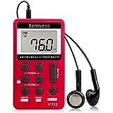 Retekess V112 Mini Radio de Bolsillo Portátil Radio Pequeña Am FM Radio 2 Bandas Receptor con Batería Recargable y Auriculares(Rojo)