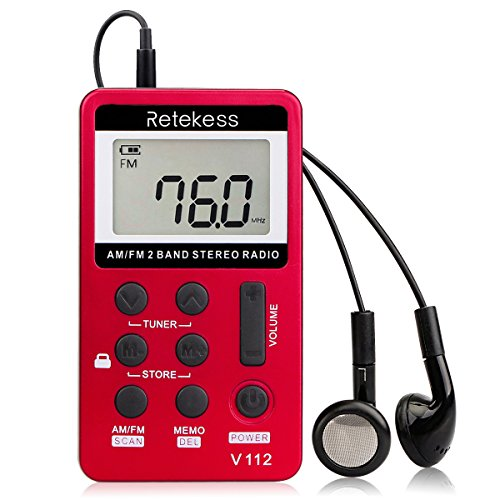 Retekess V112 Mini Pocket Radio Portable Radio Small Am FM Radio 2 Bands Receiver with Rechargeable Battery and Headphones (Red)