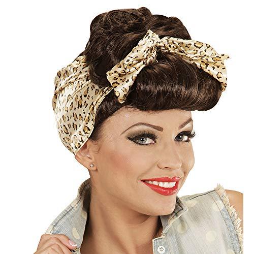 Widmann 01852 - Perücke Rockabilly Pin Up Girl braun mit Leopardenmuster Haarband (Für Halloween Pin-up-girl-outfits)