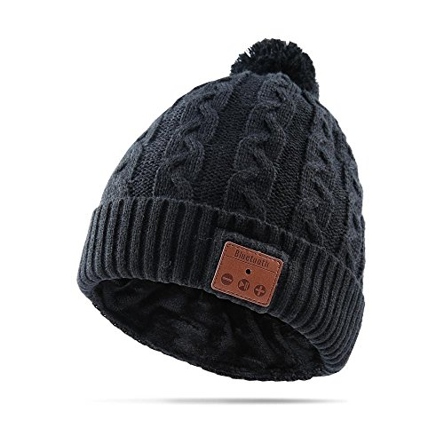 AIEKR Bluetooth Hat Stricken Mütze Hat mit Abnehmbar Lautsprecher und Hände-frei Mikrofon zum Winter Sports Fitness Exercise Workout (Schwarz) (A-line Double-knit)