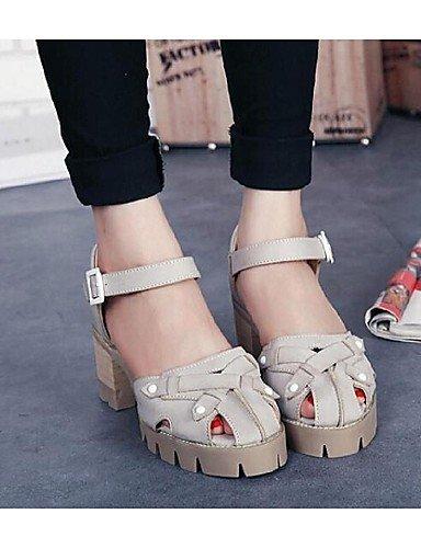 UWSZZ Die Sandalen elegante Comfort Schuhe Frau - Sandalen - lässig - Öffnen - Quadrat - Kunstleder - Weiß/Grau White