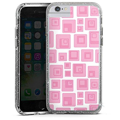 Apple iPhone 6 Bumper Hülle Bumper Case Glitzer Hülle Quadrat Retro Pink Bumper Case Glitzer silber