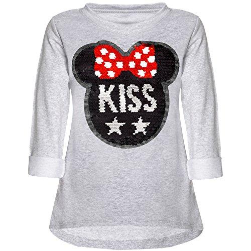 Kinder Mädchen Wende-Pailletten Sweatshirt Langarm Shirt 21724 Grau Größe 152