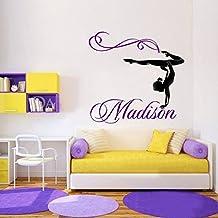 Nombre personalizado Niña gimnasta Gimnasia Danza La Danza Vinilo Adhesivo Adhesivo Pared Pared pegatinas para Niños Habitaciones tamaño 76x71CM