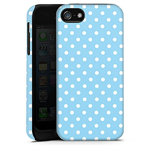 Apple iPhone X Silikon Hülle Case Schutzhülle Punkte Muster Blau Weiß Polka Tough Case matt