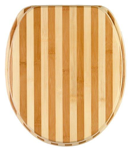 Sanilo WC Sitz mit Absenkautomatik Bambus gestreift | hochwertige Oberfläche | einfache Montage | stabile Scharniere   A312455