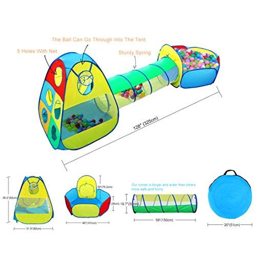 INKERSCOOP Mini Parque el Jardín de Casa Tienda de Campaña Infantil 3 en 1 con Túnel y Cesta para Niños en Exterior e Interior Plegable Portátil con Cremallera Bolsa
