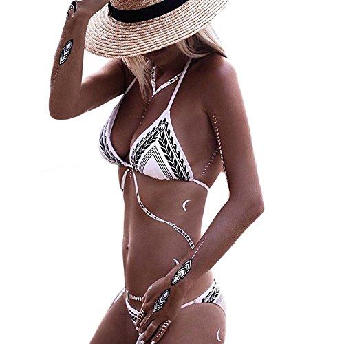 DELEY Donne Due Pezzi Sexy Retrò Print Halter Push Up Bikini Costume Da Bagno Beachwear Estate Spiaggia Taglia M