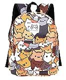 GK-O Neko Atsume Rucksack aus Segeltuch für die Schule, Schultertasche und Laptoptasche
