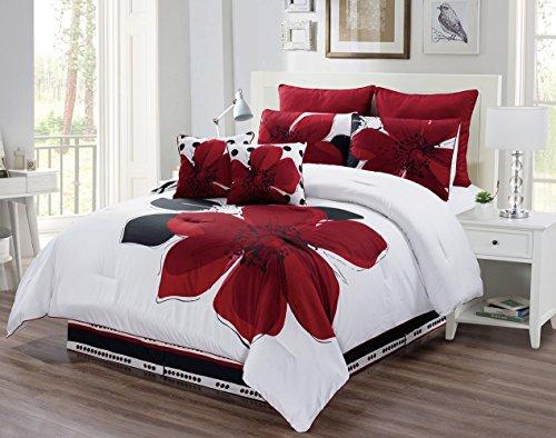 8Stück-Burgund Rot, Schwarz, Weiß, Grau Oversize Tröster Set Floral fein Bedruckte Bettwäsche, Polyester-Mischgewebe, burgunderfarben, Volle Größe (Bettwäsche Sets Tröster Grau)