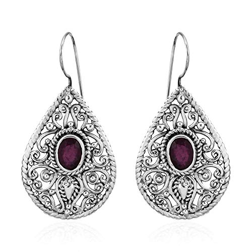 Argento sterling 925Tjc trattata rubino orecchini pendenti per le donne