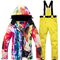 Jiuyizhe Chaqueta de esquí Impermeable y Cortavientos para Mujer Pantalón de Snowboard (Color : 02, Size : L)