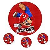 Tortenaufleger Geburtstag Tortenbild Zuckerbild Oblate Motiv: Super Mario Run (Oblatenpapier)