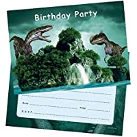 12PA Party Invitations Boys - Dinosaur Birthday Invites Postcards with envelopes for Kids - Pack of 20