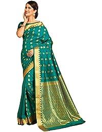 eafaa6ed11 Craftsvilla Women's Silk Blend Buti Work Saree with Blouse Piece  (MCRAF27099200830, Green)
