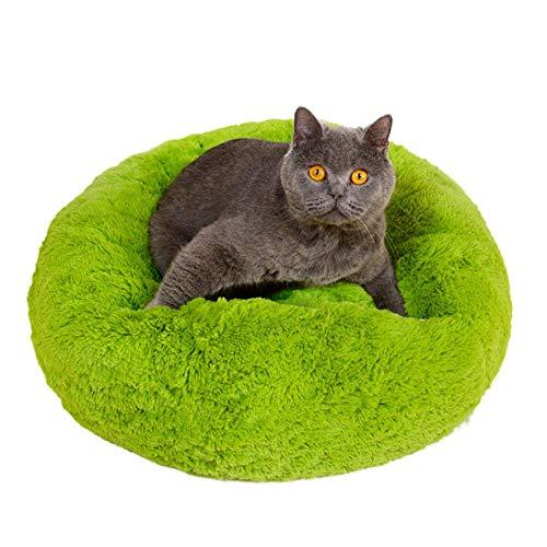 Segle Deluxe Haustierbett Katzen kleine mittelgroße Hunde Kuscheltier mit weichem Kissen Rund Donut Nisthöhle Abnehmbares Bett für Katzen kleine Hunde Waschbare Katzenbett-50 * 50 * 20cm-grün -