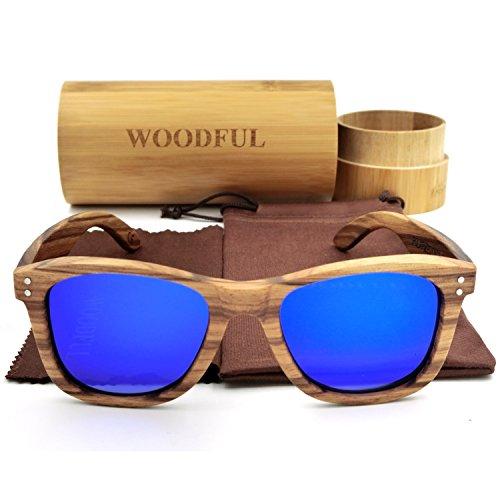 Occhiali da sole di Woodful in legno di bambù fatto a mano, leggeri blu Blue