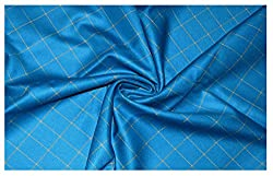 V Walkers Cotton Poly Blend Checkered Un-Stitched Trouser Fabric for Men (1.30 MTR_Blue_VST106)