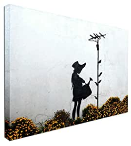 Watercan Girl – Banksy NEUF moderne Street Art Impression sur toile 50,8 x 76,2 cm