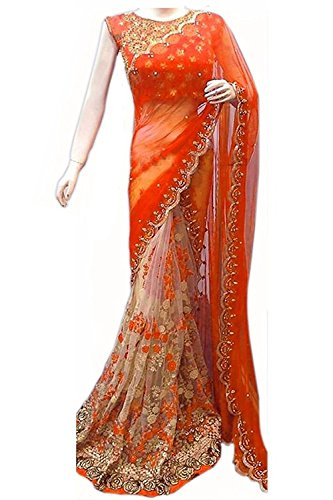 Shree Mira Impex Women's Georgette Embroidered Sarees Sari (SMIX-978_Orange_Free Size)