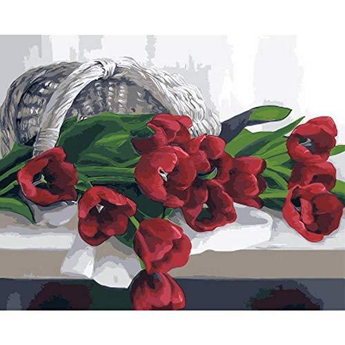 AAoil DIY Vorgedruckt Leinwand-Ölgemälde Geschenk Für Erwachsene Kinder Malen Nach Zahlen Kits Home Haus Dekor - Bambuskorb Stieg - 40 * 50 cm(16 * 20Inch- Holzrahmen