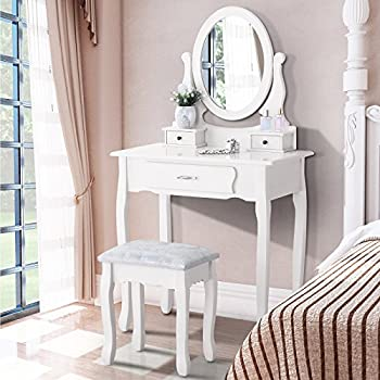 mecor White Dressing Table with Mirror and Stool, Makeup Desk Vanity Table Set 3 Drawers Bedroom Furniture