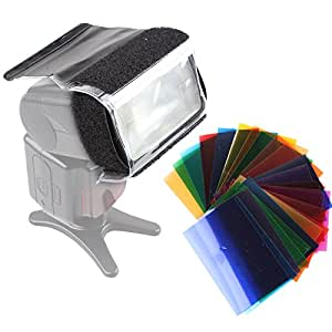 Kaavie - Gel Color Filter 24 jeux de couleurs pour l'éclairage de studio flash Camera + bande Velcro + caoutchouc