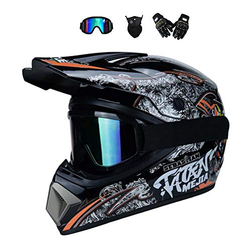 BMAQ Motocross Fahrrad Cross Country/ATV/Offroad/Langstreckenrennen Downhill Helm mit Brillen Handschuhe Maske, Glänzendem Schwarz Größe M 56-57cm Motocrosshelm,XL -