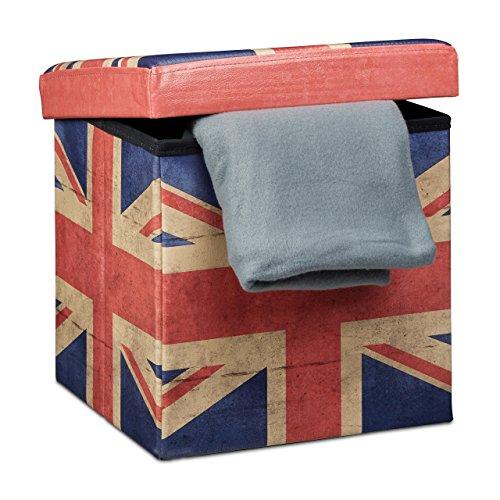 Relaxdays Faltbarer Sitzhocker 38 cm stabiler Sitzwürfel mit trendigen Motiven als praktische Fußablage als Sitzwürfel mit bedrucktem Kunstleder als Aufbewahrungsbox mit Stauraum und Deckel, UK