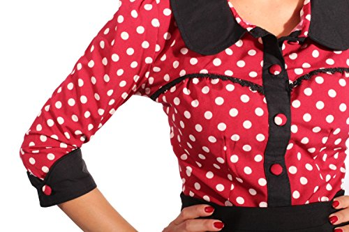 Fifties Polka Dots Rockabilly Puffärmel Bubikragen Rüschen 3/4arm Bluse XL -