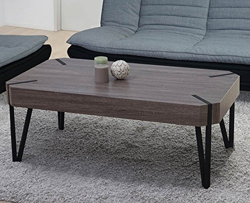 PEGANE Table Basse Coloris chêne foncé avec Pieds en métal Noir - Dim : 43 x 110 x 60 cm
