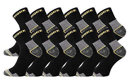 TippTexx 24 Kurze Ökotex Arbeitssocken mit zusätzlicher Garantie, Arbeits-Sneakersocken (12 Paar, 43/46)
