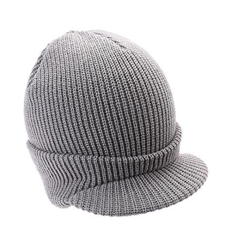 Damen Strickmützen Zungenkappe ✽ZEZKT✽Frauen Häkeln Winter Hüte Warm Wolle Stricken Mütze Ski Schädel Slouchy Caps Hut (Grau) (Stricken Jacke Bouclé)