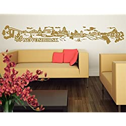 Wandtattoo No.JR33 Novosibirsk Skyline WandSticker WandTattoo Europa Russland, Farbe:Creme;Größe:55cm x 358cm