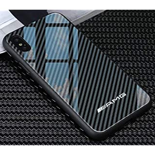 Vemore Garcon Carbon iPhone X Hülle mit Sportwagen Logo AMG, M, RS Kohlefaser Case für Apple iPhone X/10 (AMG)