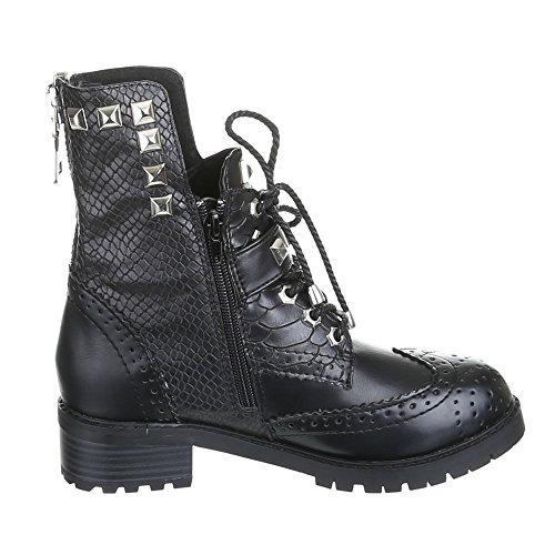 Damen Schuhe, ROBERTA, BOOTS Schwarz Silber STELLA
