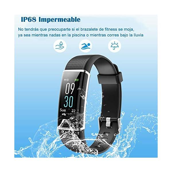 YAMAY Pulsera de Actividad Inteligente con Pulsómetro, Impermeable IP68 Smartwatch con 14 Moda Deportiva, Podómetro Pulsera Inteligente para Mujer Hombre Niño Reloj Inteligente Android y iOS Teléfono 3