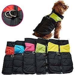 OULII Ropa del animal doméstico de perro gato cachorro perrito capa chaleco para mascotas esquí chaleco Waterpoof - talla M (naranja)